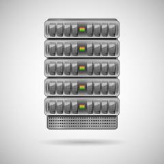 Servers installed in rack