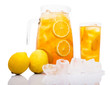 Ice lemon tea over white background