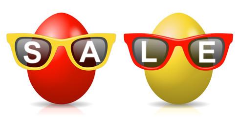 """2 rot-gelbe Ostereier mit Sonnenbrillen und Schriftzug """"SALE"""""""
