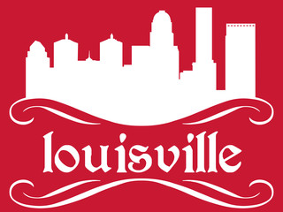 Louisville - name and city silhouette