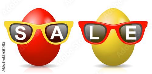 2 rot-gelbe Ostereier mit Sonnenbrillen und Schriftzug