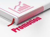 Marketing concept: book Growth Graph, Promotion on white