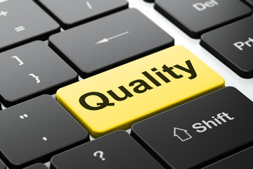 Marketing concept: Quality on computer keyboard background