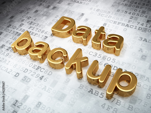 Information concept: Golden Data Backup on digital background