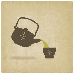 tea ceremony old background - vector illustration