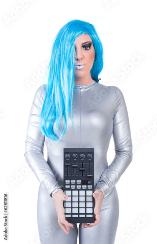 Cyber woman posing with audio equipment
