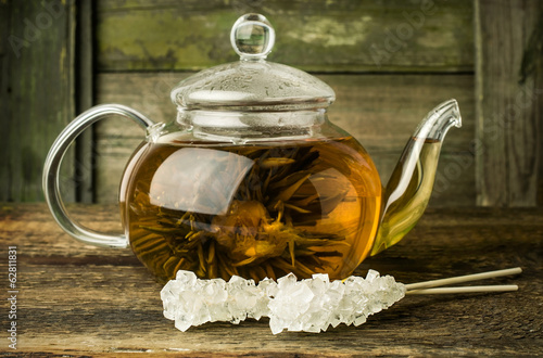 green tea in a glass pot