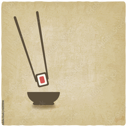 sushi roll old background - vector illustration