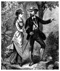 Pair : walking - Promeneurs - 19th century