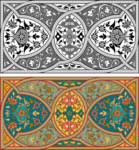 Arabesque seamless patterns with detailed ornament