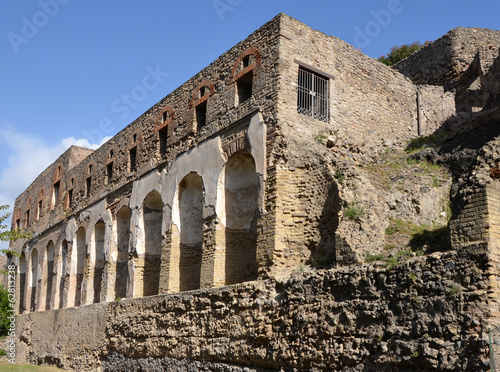 Buildings along the city walls in Pompeii