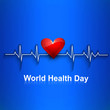 Beautiful Heart beats World health day concept with blue colorfu