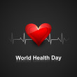 World health day concept with heart beats medical colorful backg