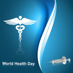 medical symbol caduceus reflection world health day blue colorfu