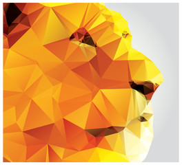 Geometric polygon lion head, profile, triangle pattern