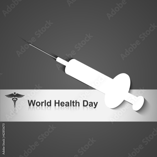 World heath day concept with medical symbol on grey colorful vec