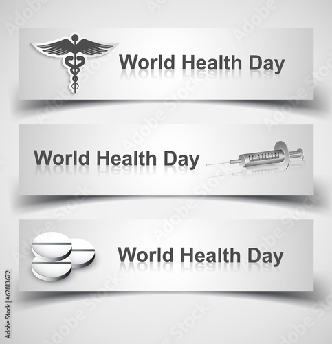 Beautiful world health day three header set medical symbol vecto