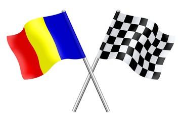 Flag : Romania and checkerboard