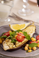 Winter salad with baked eggplant