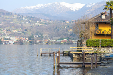 Lake Orta early springtime panorama color image