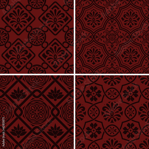 Vector seamless floral patterns, indian style