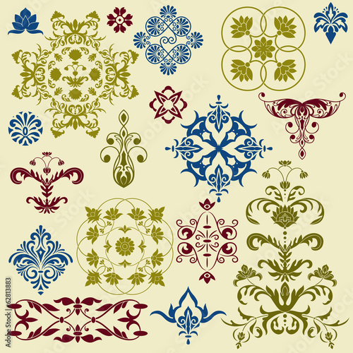 vector  vintage floral bright  design elements