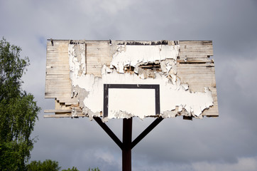 old broken basketball backboard