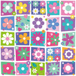colorful flowers hearts and dots collection pattern