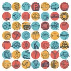 49 hand drawing doodle icon set, travel theme