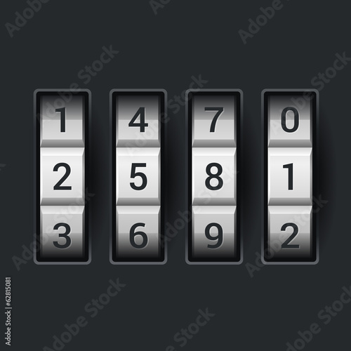 Combination lock number code. on dark background Vector