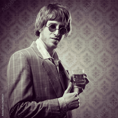 VIntage guy having a strong drink