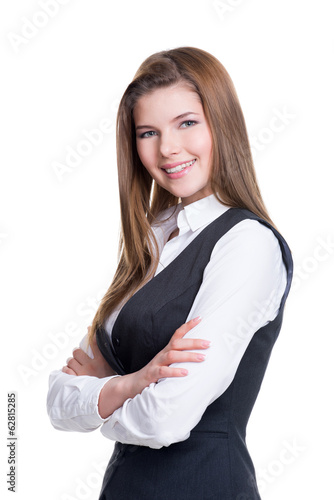 Beautiful businesswoman with crossed hands.