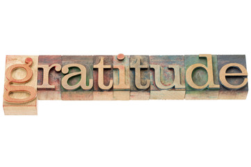 gratitude word in wood type