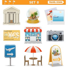 Vector travel icons set 8