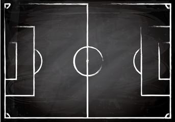 Fussballfeld auf Tafelhintergrund