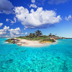 Caribbean island with perfect lagoon
