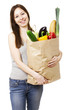 Woman Holding Large Bag of Healthly Groceries