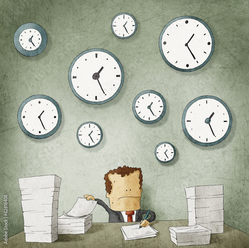 Businessman drowning in paperwork. Clocks on wall
