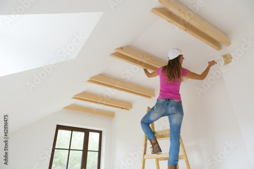 Woman painting the walls.