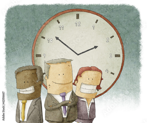 Illustration of Business people with clock