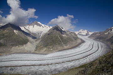 View on Aletsch glacier from Eggishorn mount, Switzerland