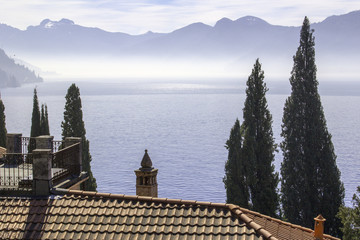 Lecco Lake springtime panorama color image