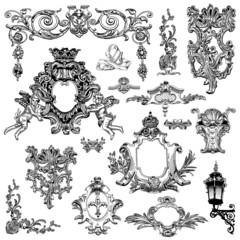 vintage sketch calligraphic drawing of heraldic design element