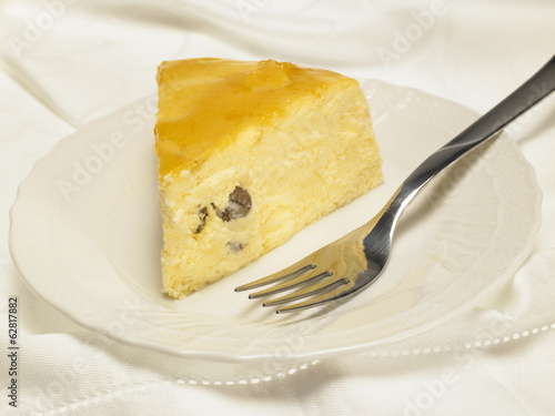 Cheese Baked Cake with apricot jam and raisins