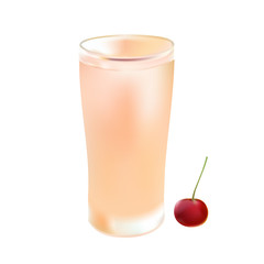 glass of cold juice in hot day and cherry