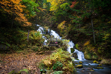 Waterfall in autumn scene