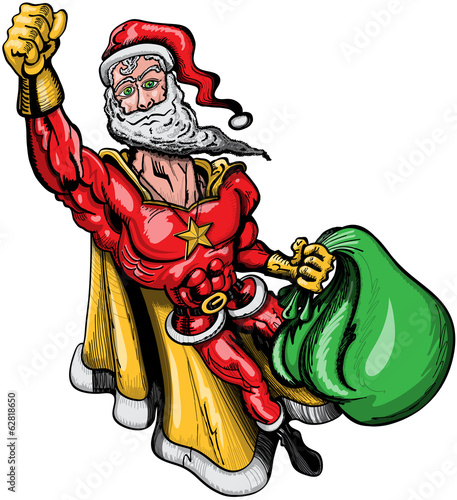 Santa Claus disguised and flying like a superhero