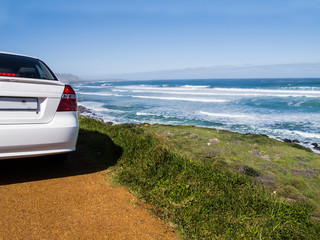 Car on a scenic route to the Cape of Good Hope, South Africa