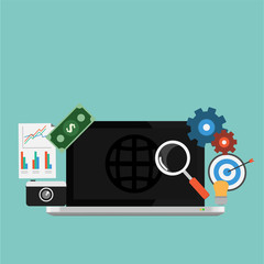 Vector of SEO Marketing Element.Laptop,money,paper,camera