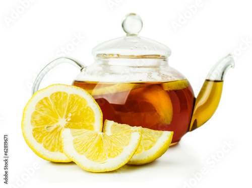 lemon tea in glass teapot